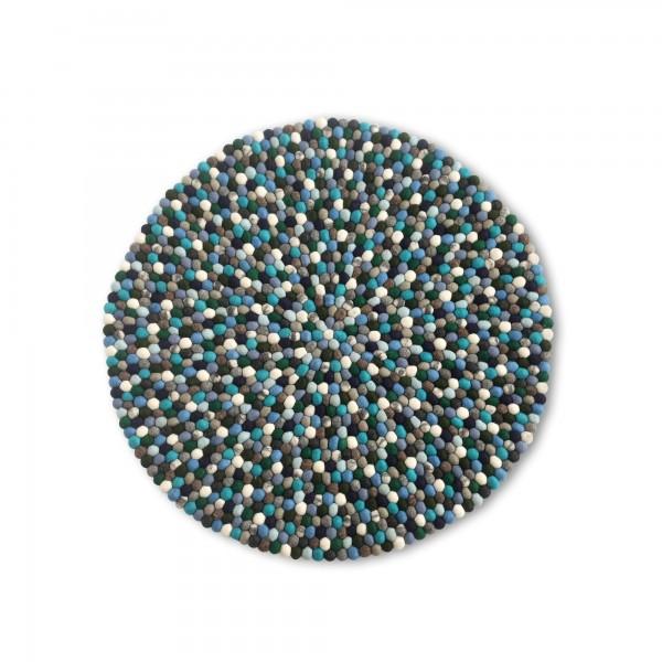 Filz-Teppich Meeresfarben Ø90cm, blautöne, Ø 90 cm