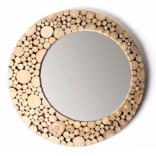 """Holzspiegel """"Baumrinde"""" aus Teakholz, Ø 60 cm"""