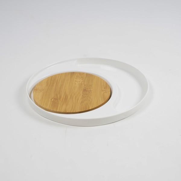 """Teller """"Rondo"""", mit Bambusplatte, weiß, Ø 28 cm, H 2 cm"""