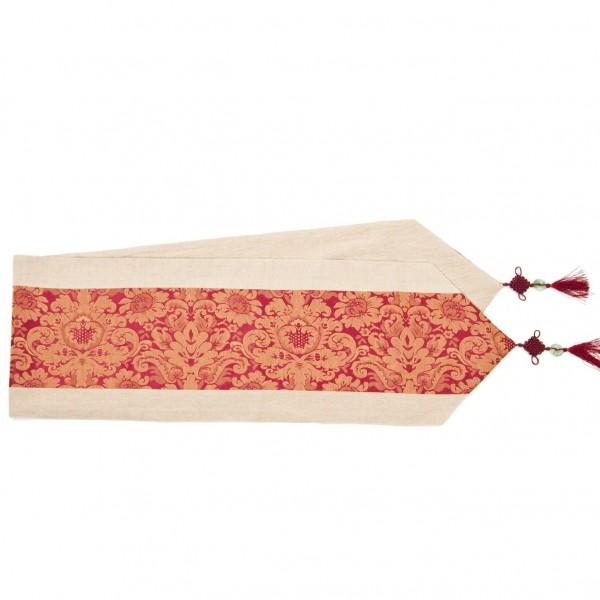 Tischläufer, beige/rot, L 200 cm, B 32 cm