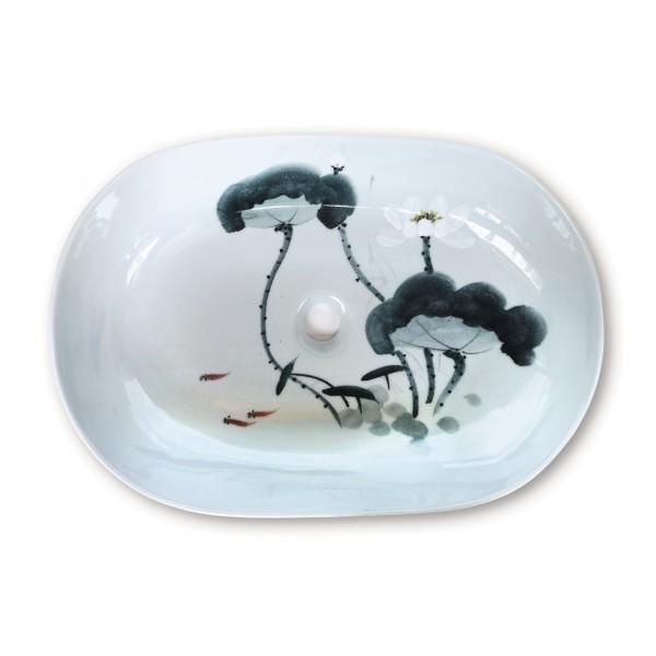 Keramikwaschbecken 'Flora', H 14 cm, B 58 cm, T 40 cm