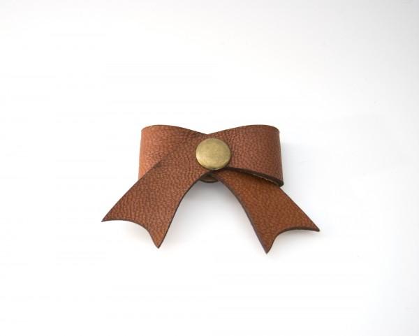 Leder-Kabelschleife, hellbraun, T 5 cm, B 5 cm