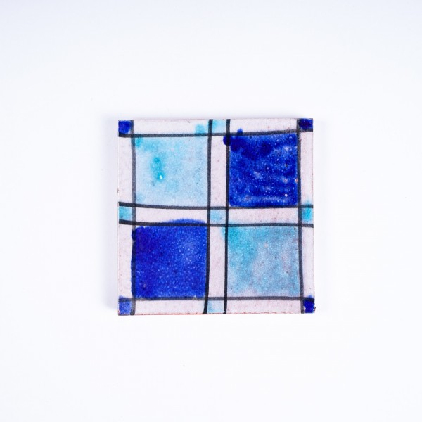 "Fliese ""fenetre bleu"", blau/türkis, L 10 cm, B 10 cm, H 1cm"