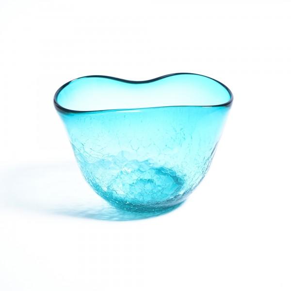 Glasvase, türkis, Ø 22 cm, H 13 cm