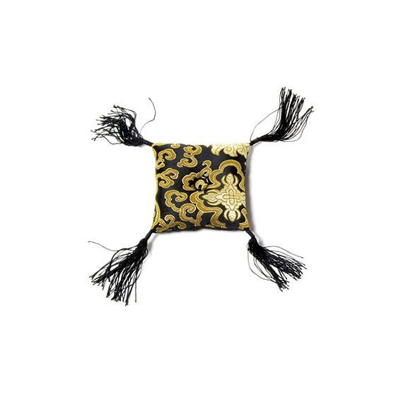 Klangschalenkissen, schwarz/gold, L 13 cm, B 13 cm, H 4 cm