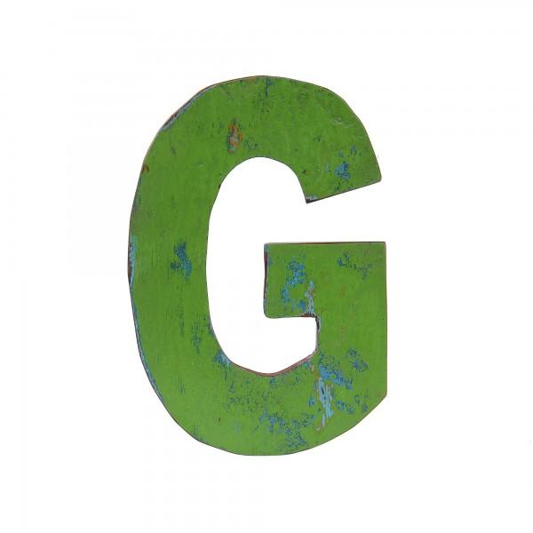 Holzbuchstabe 'G', mehrfarbig, T 2,5 cm, B 13 cm, H 19 cm