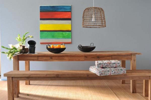Holzbank aus recyceltem Teak, natur, T 180 cm, B 35 cm, H 47 cm