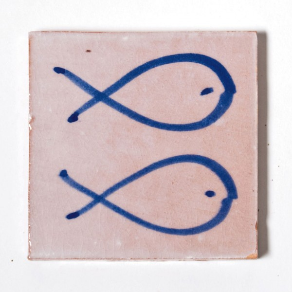 "Fliese ""deux poissons bleue"", weiß/blau, L 10 cm, B 10 cm, H 1cm"