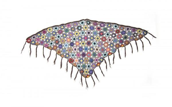 Dreieckiges Häkeltuch, braun/multicolor, L 165 cm, B 85 cm