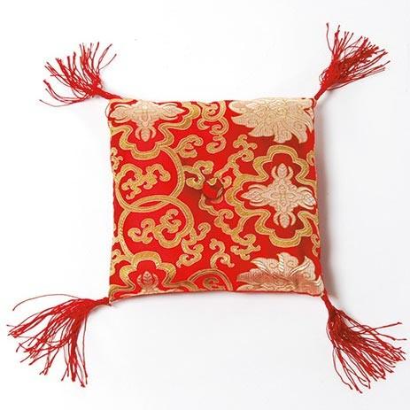 Klangschalenkissen, rot/gold, L 15 cm, B 15 cm, H 4,5 cm