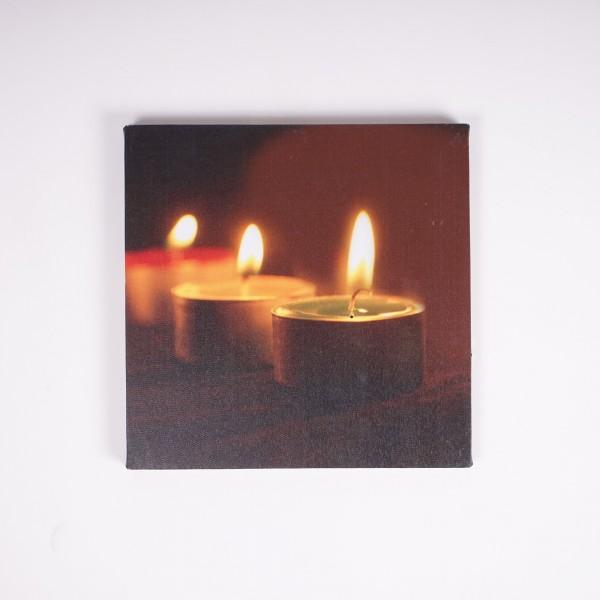 """Kunstdruck auf Leinwand """"Teelicht-Trio"""", beleuchtet, L 2 cm, B 30 cm, H 30 cm"""