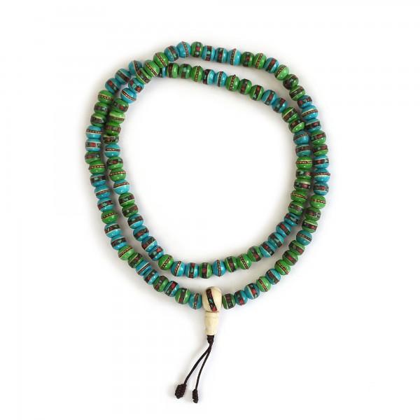 Mala Gebetskette, Inlay türkis, grün, T 35 cm, B 8 cm