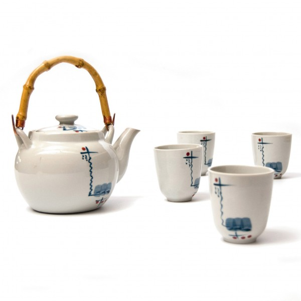 "Teeservice ""Hunan"", 4 Tassen & Teekanne, blau/weiß"