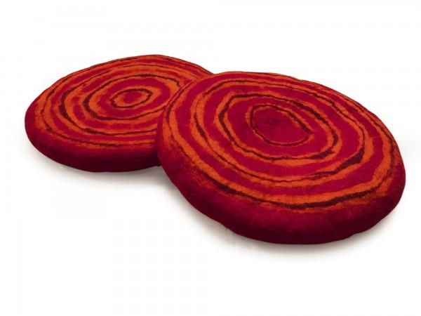 Filz-Sitzkissen, orange, rot, Ø 40 cm, H 3,5 cm