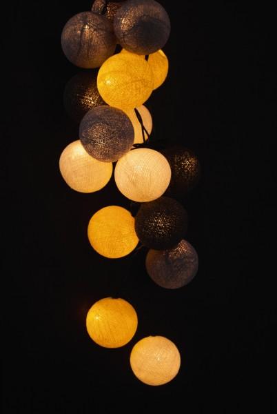 Kugellichterkette mit 35 Kugeln, grau/gelb