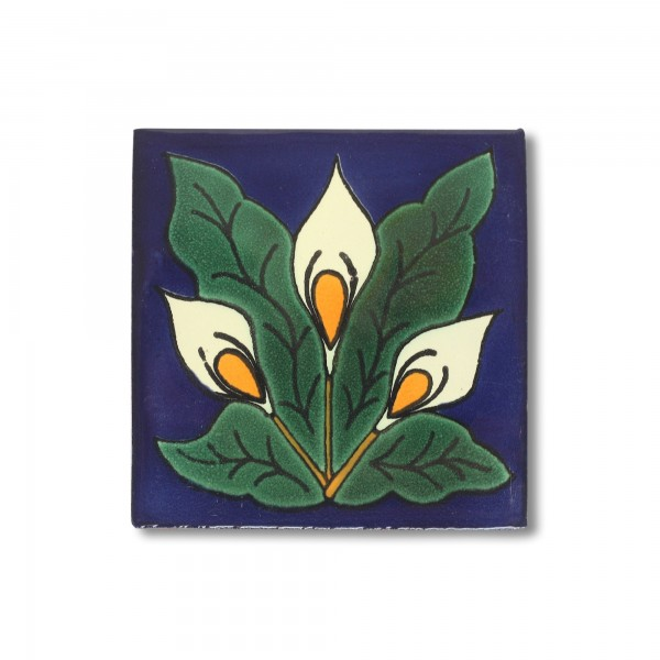Kachel 'Modernismo', blau, grün, weiß, T 10 cm, B 10 cm, H 0,5 cm