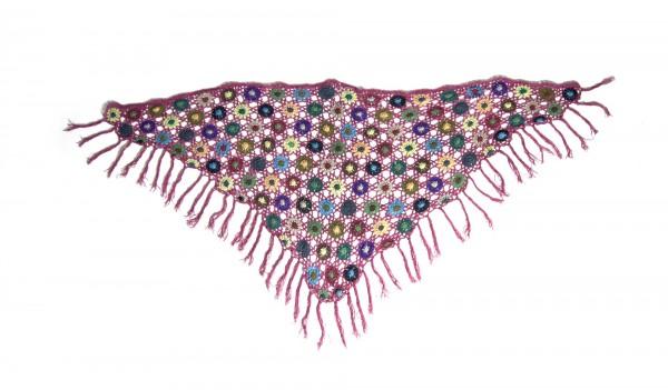 Dreieckiges Häkeltuch, lila/multicolor, L 165 cm, B 85 cm