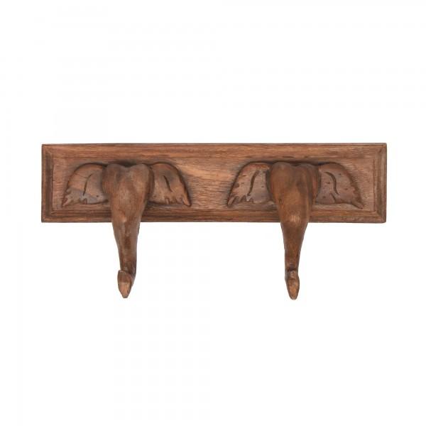 2er Wandhaken Elefantenkopf, braun, T 9cm, B 43cm, H 18cm