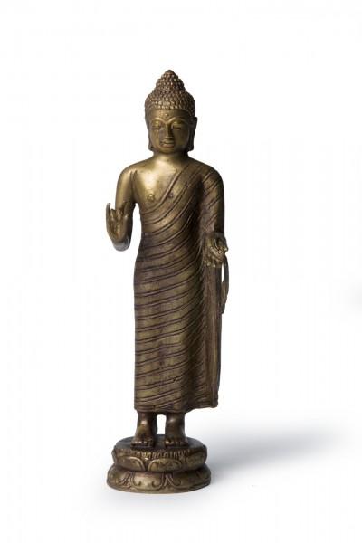 Buddha stehend, bronze, T 5 cm, B 7,5 cm, H 20 cm