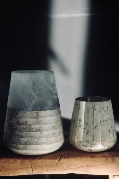 Windlicht 'Ocean', weiß, milchglas, Ø 15 cm, H 19 cm