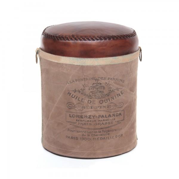 Hocker 'Huile de Quinine', hellbraun, braun, Ø 36 cm, H 46 cm