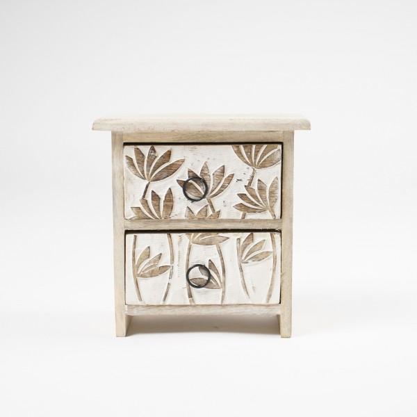 """Schatulle """"Lotus"""" mit 2 Schubladen, braun/weiß, H 22 cm, B 20 cm, T 12 cm"""