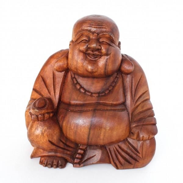 Chinese-Buddha sitzend aus Holz, braun, L 11 cm, B 19 cm, H 21,5 cm