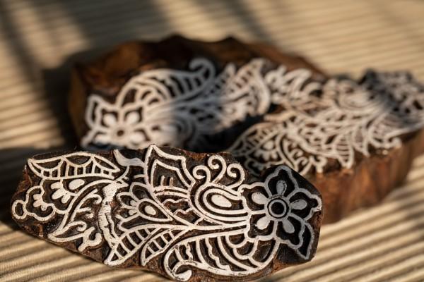 Textilstempel 9 Designs, braun, weiß, T 10 cm, B 0,6 cm