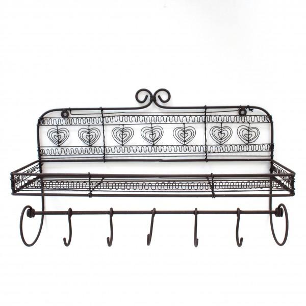 Wandregal mit Wandhaken, antik-braun, L 14 cm, B 41 cm, H 26 cm