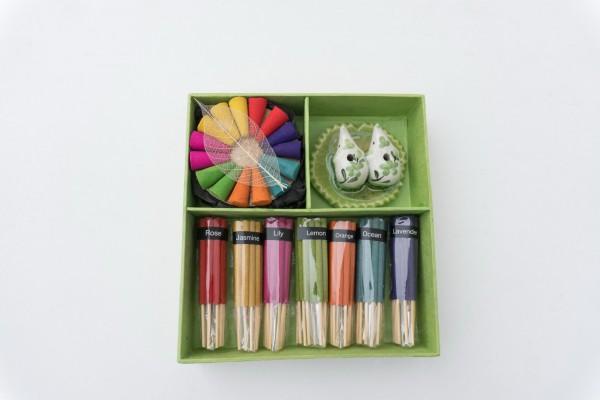 Räucher-Box mit Doppelhalter, multicolor, T 15 cm, B 15 cm, H 3,8 cm