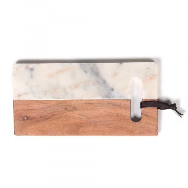 """Schneidebrett """"Vidya"""", aus Marmor, weiß/braun, L 13 cm, B 25 cm"""