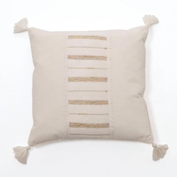 Kissenhülle mit Stickerei, beige, L 50 cm, B 50 cm
