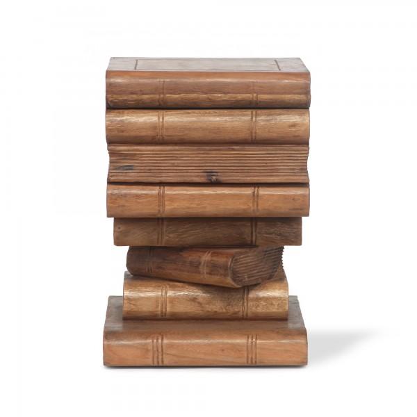 Bücherstapel-Truhe, braun, T 34 cm, B 35,5 cm, H 51 cm