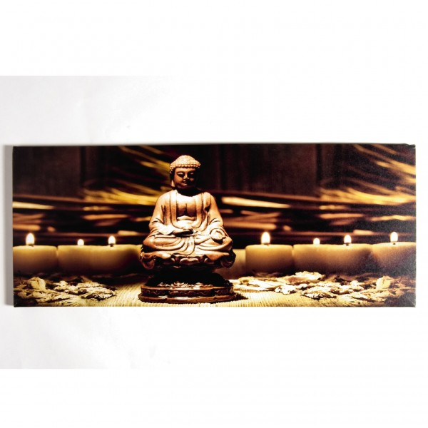 """Kunstdruck auf Leinwand """"Buddha mit Kerze"""", beleuchtet, L 2 cm, B 100 cm, H 40 cm"""