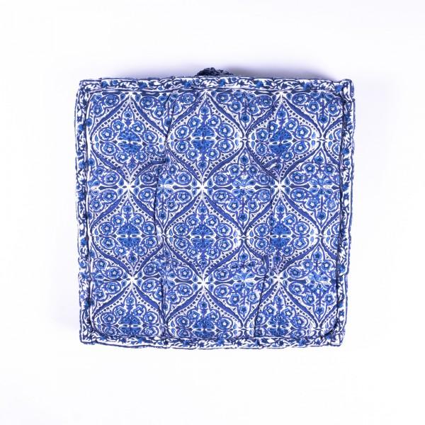"Sitzkissen ""Gulika"", manuelles Blockprintverfahren, L 48 cm, B 48 cm, H 10 cm"