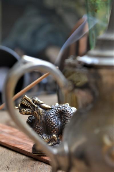 Drachenstatue 'Dragon' aus Messing, antik gold, T 7,5 cm, B 2 cm, H 5 cm