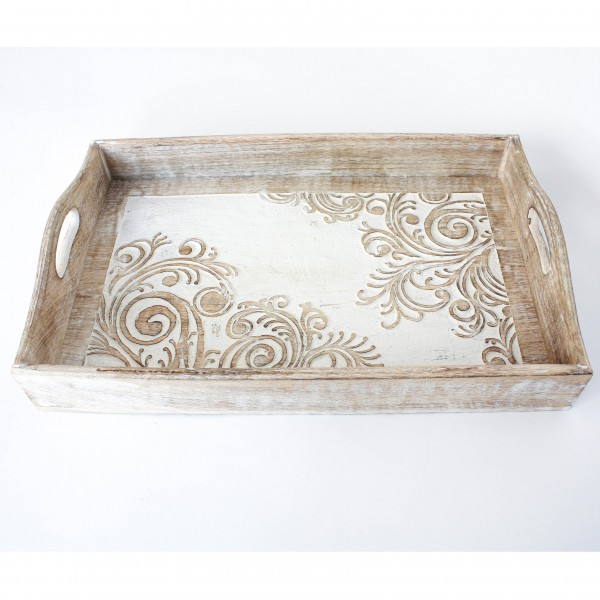 """Tablett """"Taranga"""", weiß/natur, L 27,5 cm, B 42 cm, H 6 cm"""