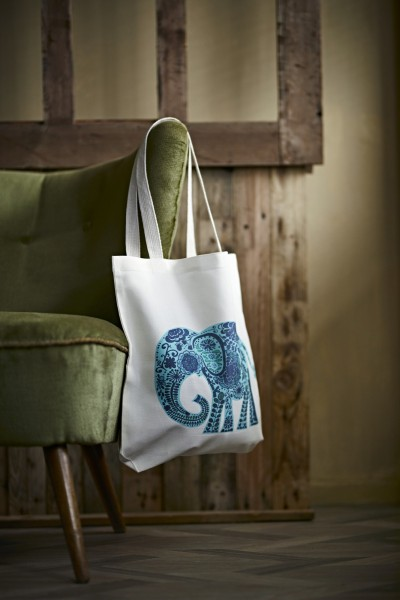 Stoffbeutel Elefant, weiß/türkis, T 9 cm, B 40 cm, H 40 cm
