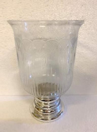 Windlicht 'Tajo', durchsichtig, silber, Ø 19 cm, H 30 cm