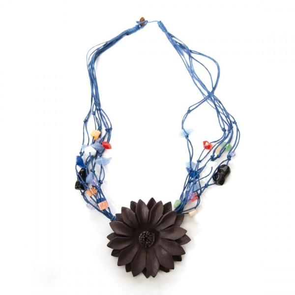 """Halskette """"Blume"""", blau/braun"""