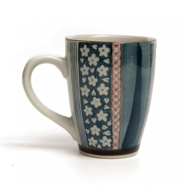 """Tasse Gordes """"Gestreift"""", blau/rot, H 12 cm, Ø 9,5 cm"""