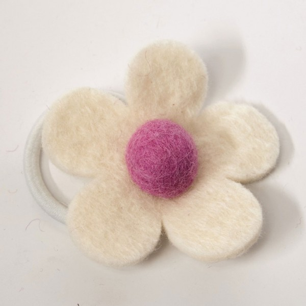 Haarband 'Blütenblatt', pink/weiß, Ø 8 cm