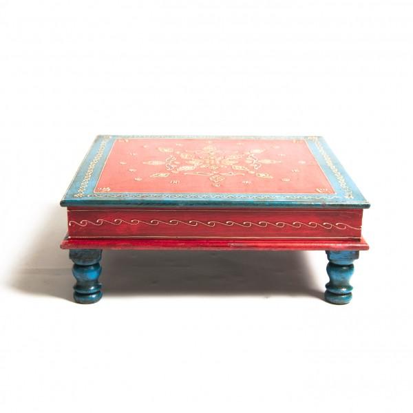 Couchtisch mit Mehndi-Malerei, rot/blau, L 44 cm, B 44 cm, H 16 cm