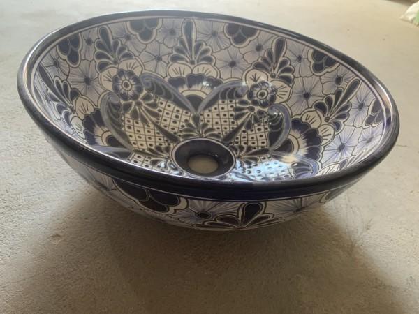 Keramikaufsatzwaschbecken 'Floral', blau, T 39 cm, B 39 cm, H 15 cm