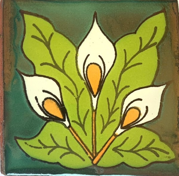 Kachel 'Modernismo', grün, weiß, T 10 cm, B 10 cm, H 0,5 cm