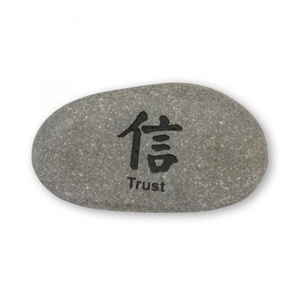 Flusskieselstein 'Trust', grau, T 8 cm, B 8 cm