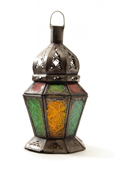 Marokkanische Laterne 'Cime', rostfarben multicolor, H 23 cm, Ø 12 cm