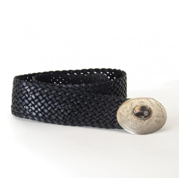 Ledergürtel mit Vollflechtung, schwarz, L 85 cm