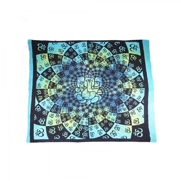 """Tagesdecke """"Ganesha"""", aus 100% Baumwolle, blau/grün, L 250 cm, B 220 cm"""
