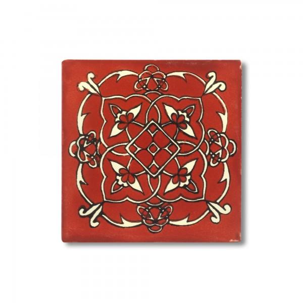 Kachel 'Cancela', rot, weiß, T 10 cm, B 10 cm, H 0,5 cm